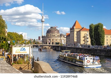 BERLIN, GERMANY - 29 Sep 2018: Embankment of the Spree near Monbijou bridge