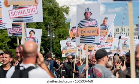 Berlin Germany 29.08.2020 Anticorona demonstration in Berlin street of June 17 and Brandenburg Gate