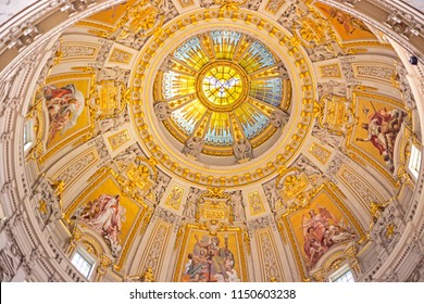 BERLIN, GERMANY - 4 Aug 2018: Ceiling of Berlin Cathedral