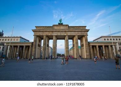 BERLIN, GERMANY: 4 August 2018 - Brandenburg Gate with Blue Sky Background
