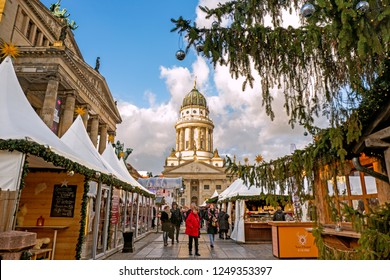 BERLIN, GERMANY - 4 Dec 2018: Christmas Market on Gendarmenmarkt square