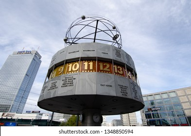 BERLIN, GERMANY - 4 Nov 2012: Weltzeituhr is world time clock and displays the time zones around the globe, an icon of East Germany still in Alenxaderplatz square, Berlin, Germany.