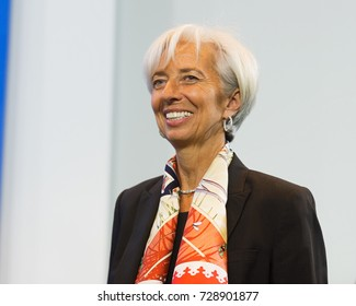 BERLIN, Germany, 4-10-2017:  The Managing Director of the International Monetary Fund (IMF), Christine Lagarde at a press conference in the German Federal Chancellery