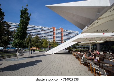 BERLIN, GERMANY - 6 SEPTEMBER: Restaurants and cafes between the Marienkirche and the human museum.  6 SEPTEMBER 2017