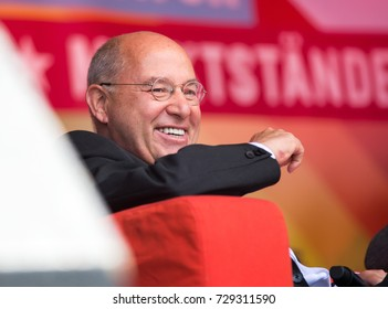 Berlin, Germany, 6-15-2017: Gregor Gysi, President of  the Party of the European Left (EL) talks at an open air event at the Rosa-Luxemburg-Platz in Berlin