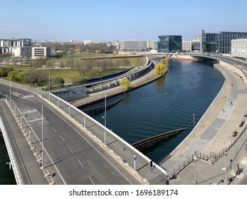 Berlin, Germany - 7 APRIL 2020: Government district (german: Regierungsviertel) Empty streets because of COVID19