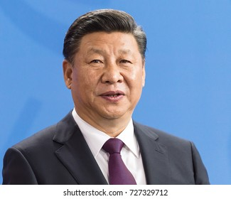 BERLIN, GERMANY, 7-5-2017: President Xi Jinping from China  at the press conference in the German Chancellery