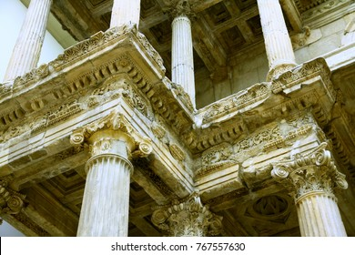 BERLIN, GERMANY - 8 February 2015. Architectural details of the Altar in Pergamon Museum in Berlin.