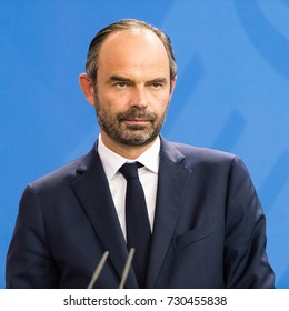 Berlin, Germany 9-15-2017: French Prime Minister Edouard Philippe at a press conference at the Federal Chancellery Berlin