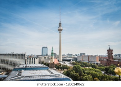 Berlin, Germany - 9.26.2018: Aerial view of Berlin skyline with famous TV tower