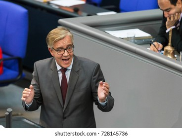 Berlin, Germany, 9-5-2017, Member of the left party, Dietmar Bartsch, speaks at the german parliament