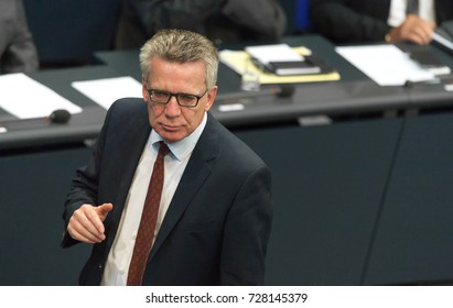 Berlin, Germany, 9-5-2017: Secretary of the Interior, Thomas de Maiziere, at the german parliament