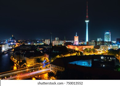 Berlin, Germany. Aerial view of illuminated landmarks in Berlin, Germany at night