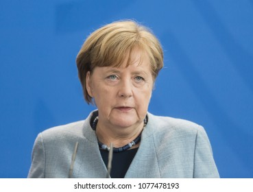 BERLIN, GERMANY - Apr. 10, 2018: Chancellor of the Federal Republic of Germany Angela Merkel during a joint press conference with the President of Ukraine Petro Poroshenko in Berlin