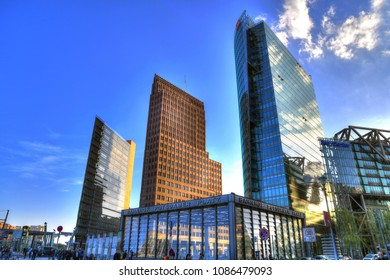 BERLIN, GERMANY, APR 20: Colorful image of the skyline of the skyscrapers  at the financial district with Potsdamer Platz with the Bahnhof station in Berlin, Germany, April 20, 2018
