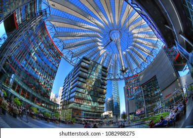 BERLIN, GERMANY, APR 21: Wide angle image of the Sony Center at the Potsdamer Platz in Berlin, Germany, April 21, 2018