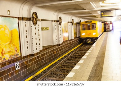 BERLIN, GERMANY - APR 27, 2012: train passes the Metro station Breitenbachplatz in Berlin. Berlin Metro is one of the oldest in Germany.