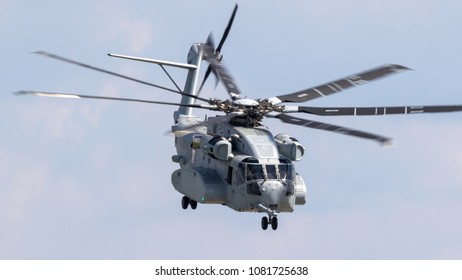 BERLIN, GERMANY - APR 27, 2018: New US Marines Sikorsky CH-53K King Stallion heavy transport helicopter taking off at the Berlin ILA Air Show.
