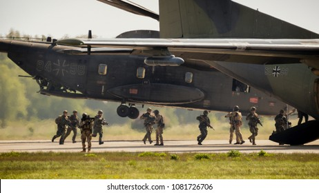 BERLIN, GERMANY - APR 27, 2018: German army and air force performing a military demonstration at the Berlin ILA Air Show.