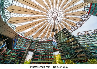 BERLIN, GERMANY, APR 30, 2018: Wide angle image of the top of the Sony Center at the Potsdamer Platz in Berlin, Germany.
