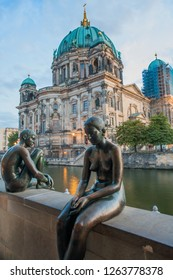 BERLIN, GERMANY - APRIL 02, 2018: Embankment of the River Spree in Berlin City