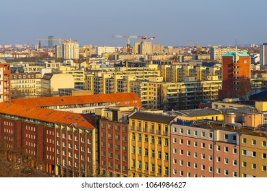 BERLIN, GERMANY - APRIL 08, 2018: A bird's eye view of the central districts of Berlin in the evening sun.
