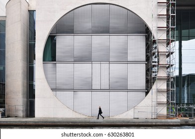 Berlin, Germany - April 12, 2017: The Marie Elisabeth Luders House in Berlin. Architectural composition with circle and walking man.