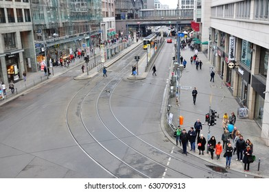 Berlin, Germany - April 12, 2017: Friedrichstrasse in Berlin with people, top view.