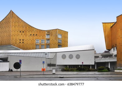 Berlin, Germany - April 12, 2017: Facade of  Berlin Philharmonic building.