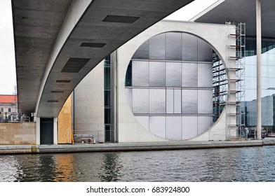 Berlin, Germany - April 12, 2017: The Marie Elisabeth Luders House in Berlin. Architectural composition with circle on facade bridge in perspective.