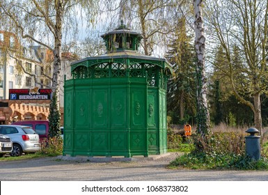 """Berlin, Germany - April 12, 2018: """"Cafe Achteck"""" - cafe octagon is a berlin nickname for a typical public toilet from the end of the 19th century in Berlin"""