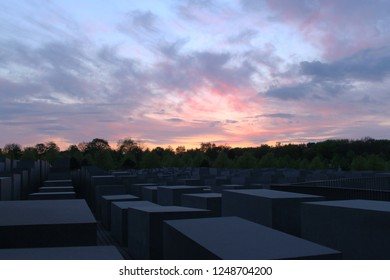 Berlin, Germany; April 13 2014: Memorial to the Jews killed in Europe (Holocaust) at sunset.