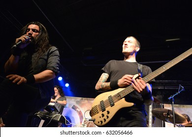 Berlin, Berlin / GERMANY April 13, 2016: American christian metal band Trenches from Indianapolis, Indiana, giving a live concert in Berlin (Germany) Postbahnhof in 2016