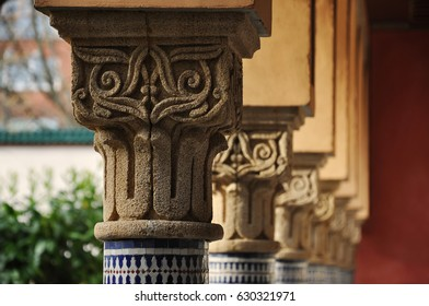 Berlin, Germany - April 13, 2017: Decorated column capitals in perspective in the East garden. Selective focus. Gardens of the world in Berlin.
