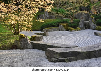 Berlin, Germany - April 13, 2017: Japanese garden of stones in the Gardens of the world in Berlin.