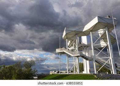 Berlin, Germany - April 13, 2017: New observation platform Wolkenhain built for the garden exhibition in the Marzahn district of Berlin on a cloudy day.