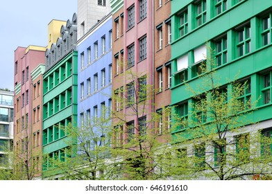 Berlin, Germany - April 13, 2017: Quarter Schutzenstrasse in Berlin with many colored modern buildings. The architect is Aldo Rossi.