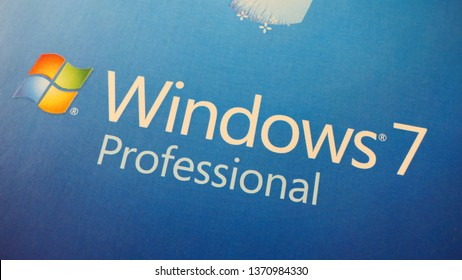 BERLIN, GERMANY – APRIL 13, 2019: The logo of the Operating System Windows 7 Professional from a Retail Box