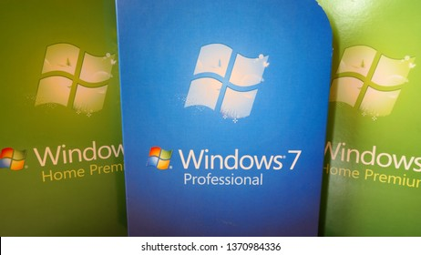BERLIN, GERMANY – APRIL 13, 2019: Multiple and genuine Windows 7 Home Premium and Professional Retail Boxes, from the year 2009