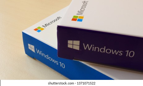 BERLIN, GERMANY – APRIL 13, 2019: Close-up view of two Windows 10 Pro Retail Boxes, Home Edition and Professional