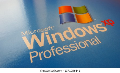 BERLIN, GERMANY – APRIL 13, 2019: Close-up view of the logo of Microsoft Windows XP Professional on a retail Box