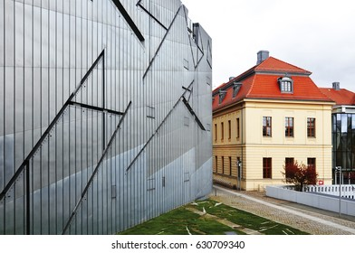 Berlin, Germany - April 14, 2017: The old and new building of the Jewish Museum in Berlin. Architect is Daniel Libeskind.