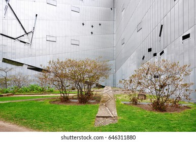 Berlin, Germany - April 14, 2017: Exterior of Modern Jewish Museum in Berlin. Architect is Daniel Libeskind.