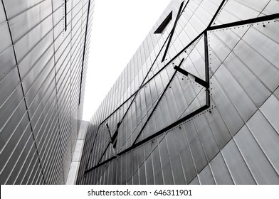 Berlin, Germany - April 14, 2017: Look up at the modern building of the Jewish Museum in Berlin. Architect is Daniel Libeskind.