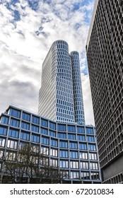Berlin, Germany - April 14, 2017: Skyscraper and modern buildings in Breitscheidplatz. It is a major public square in the inner city of Berlin, Germany