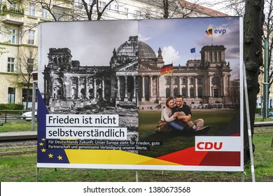 Berlin, Germany - April 14, 2019: Election campaign poster of the CDU Christian Democratic Union, German political party for the European Parliament elections