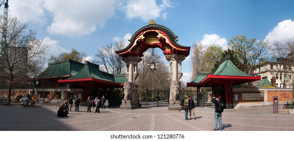 BERLIN, GERMANY - APRIL, 14: Famous entrance at Zoological garden in Berlin, Germany at April 14, 2012.  It`s the oldest garden in Germany with most comprehensive collection of species in the world