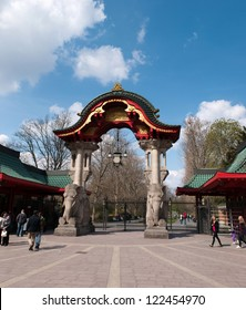 BERLIN, GERMANY - APRIL, 14: Famous entrance at Zoological garden in Berlin, Germany on April 14, 2012. It`s the oldest garden in Germany with most comprehensive collection of species in the world