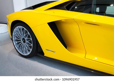 BERLIN, GERMANY - APRIL 15 2018: Car detail of Lamborghini Aventador S coupe standing at Volkswagen Group forum Drive on April 15, 2018 in Berlin, Germany.