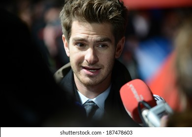 "BERLIN - GERMANY - APRIL 15: Andrew Garfield at ""The Amazing Spider-Man 2"" premiere at CineStar, Sony Center, Potsdamer Platz on April 15, 2014 in Berlin, Germany."